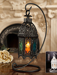 "13""H Antique Style Hollow Out Iron Lantern Candle Holder"