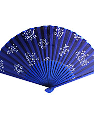 Floral Royal Blue Satin Hand Fan - Set of 4