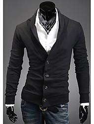 ZBN hombres de solapa único breasted adelgaza Cardigan (Negro)