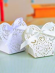 Pearl Paper Favor Box Avec Laser Cut Shell et Bow - Ensemble de 12 (plus de couleurs)