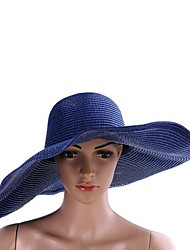 Elegant Women Foldable Straw Braid Cap with Wide Cap Brim