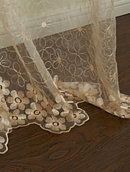 (Dos paneles) agraciado sólido beige bordado floral cortina escarpada