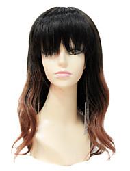 Sexy Mono Top 100% humain Remy Cheveux courts long ondulé noir et Brown Gradient Couleur perruque de cheveux