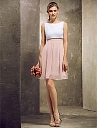 Short / Mini Bateau Bridesmaid Dress - Color Block Sleeveless Chiffon