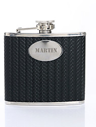 Personalized Father's Day Gift Woven Pattern 5oz PU Leather Capital Letters Flask