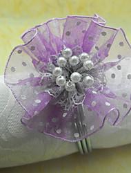 Graceful Fleurs perles acryliques Rond de Serviette, Dia4.2-4.5cm Ensemble de 12