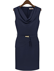 Angleskingdom European Style Schlank Gugel Kragen Ärmelloses Kleid (Royal Blue)
