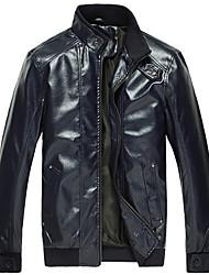 Lucassa mode de collier de stand d'unité centrale de couleur pleine manches longues manteau de cuir