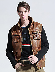 Men's Leisure Fashion Brown Leather Vest