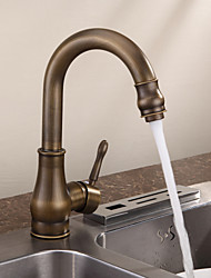 Personalized Kitchen Faucet Antique Brass Finish Deck Mounted Single Handle