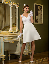 Lanting Bride Sheath/Column Petite / Plus Sizes Wedding Dress-Knee-length Queen Anne Lace / Satin