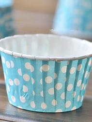 Papel bolinhas azuis Cupcake Wrappers - conjunto de 50