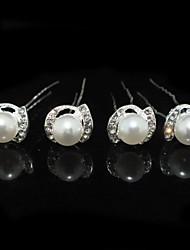 Damen Strass Legierung Künstliche Perle Kopfschmuck-Hochzeit Besondere Anlässe Haarklammer 4 Stück
