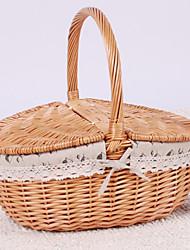 Classic White Cotton Cloth Bamboo Storage Basket