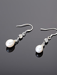 Elegant Alloy With Rhinestone Pearl Women's Drop Earrings