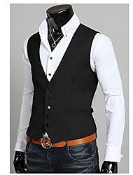 OTTF Fashion Solid Color Multi-Button Slmming Vest(Black)