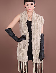 Fur Vest With Sleeveless Collarless Rabbit Fur Casual/Party Vest(More Colors)