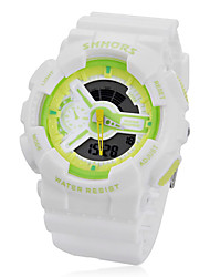 Unisex Multi-Functional Round Dial Rubber Band Analog-Digital Wrist Watch
