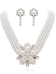 Gorgeous Immitation Pearl With Clear Rhinestone Wedding Bridal Women Jewelry Set(Including Necklace,Earrings)