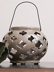 "6""H European Style Hollow Out Lantern Ceramic Candle Holder"