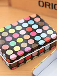 Rectangle Black Ground Colorful Dot Tin Box