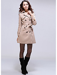 Trench Coat Outerwear Women's Retro Double Breasted Long Slim Jacke