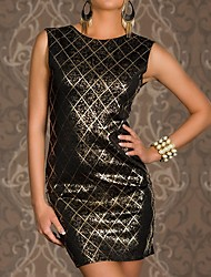 Women's Black Shining Square Hot Stamping Bodycon Party Dress