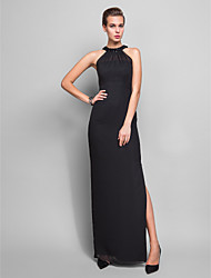 Sheath / Column Halter Floor Length Chiffon Formal Evening Military Ball Dress with Crystal Detailing by TS Couture®