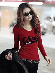 maniche lunghe in cotone T-shirt slim fit da donna