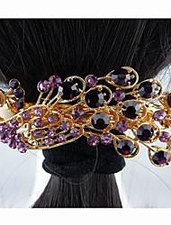 Moda Hermosos aleación completa Cristal Púrpura del pavo real de las horquillas de la Mujer
