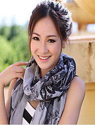 BY All-Mathc Twill Lotus Pattern Scarf(Gray)