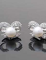 Miss U Женская Белый Diamond Симпатичные бантом жемчужные серьги