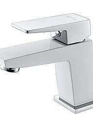branco contemporânea um abs plastice grau um buraco única alça de bronze torneira da pia do banheiro