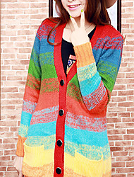 Folli Bright Colored Striped Wool Knit Coat
