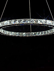LED Bulb Included Crystal Chandelier, 40 LEDs, Fashionable Round Stainless Steel Plating
