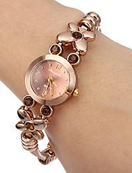 Damen Modeuhr Armband-Uhr Quartz Legierung Band Blume Braun Marke