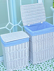 Classic Tall White Rattan Storage Basket with Blue Lining