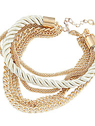Fashion 7Cm Women'S Golden Alloy Chain & Link Bracelet(Black,White)(1 Pc) Christmas Gifts