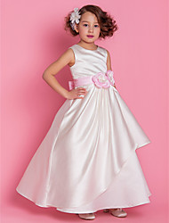 A-line Princess Floor-length Flower Girl Dress - Satin Scoop with Flower(s) Sash / Ribbon