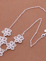 Plata con Encanto aleación plateada con el collar de plata Flores MUJERES