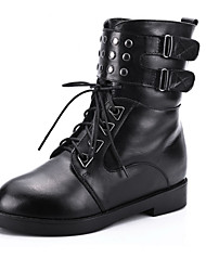 Leather Women's Low Heel Motorcycle Boots Ankle Boots With Lace-up