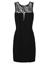 Women's Solid/Lace Black/Red Dress , Lace/Work Round Neck Sleeveless Lace