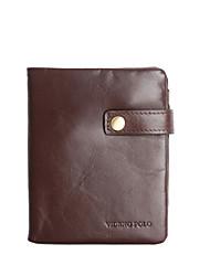 VD-Polo Classic Solid Color pochette de cuir véritable pour hommes (brun) _BL-010-B