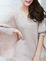 Folli coreano lantejoulas decoração assimétrica Hem manga comprida Knit Shirt