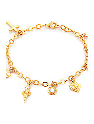 U7® 18K Real GoldPlatinum Plated Charms Bracelet Fairy Cross Bear Hearts High Quality Bangles For Girls
