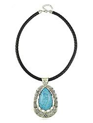 European Style Gem Water-drop Pendant PU Women's Necklace