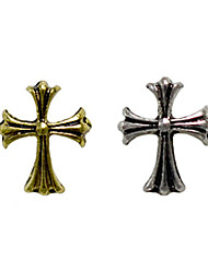 10PCS Bronze Golden&Silver Retro Chrome Hearts Nail Art Decorations(Type E,Assorted Colors)