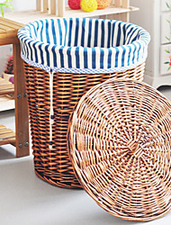 Traditional Blue Stripe Cloth Liner Bamboo Storage Bin For Cloth