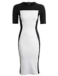 S&Z Women's White Half Sleeve Splicing Dress