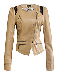 Hongru Small Leather Garments Motorcycle Jacket Short Slim  Rivets Puff Sleeve Jacket (Screen Color)